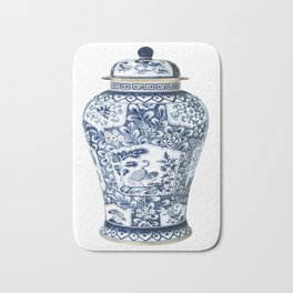 Blue & White Chinoiserie Cranes Porcelain Ginger Jar Bath Mat