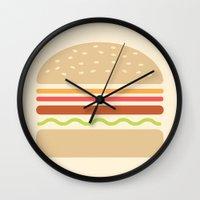 hamburger Wall Clocks featuring  #62 Hamburger by MNML Thing
