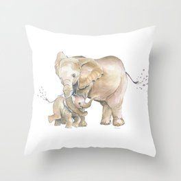 Mother's Love - Elephant Family Throw Pillow