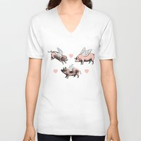 pigs V-neck T-shirts featuring Flying Pigs by Eclectic at HeART