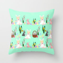 Easter pattern with babies, bunnies, eggs and daffodils Throw Pillow
