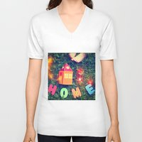 home sweet home V-neck T-shirts featuring HOME by Julia Kovtunyak
