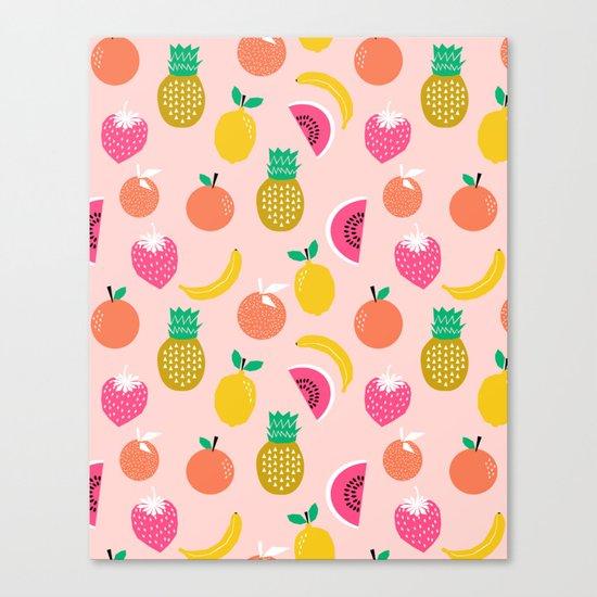 Fruit summer spring pattern print tropical island pineapple cherry strawberry banana fresh hot  Canvas Print