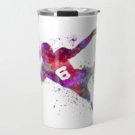american football player catching ball  silhouette Travel Mug