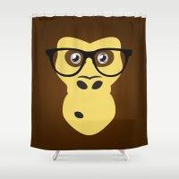 geek Shower Curtains featuring Monkey Geek by Febrian89