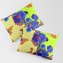 Lime Color Fantasy  Butterflies Peacock Eyes  Art Pillow Sham