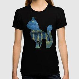 Cat Watching The Starry Night Over The Rhone - Van Gogh Painting T-shirt