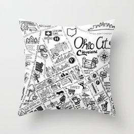 Ohio City Map Throw Pillow