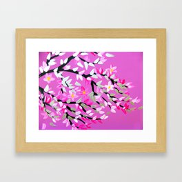 Pink and Gray with Cherry Blossom Framed Art Print