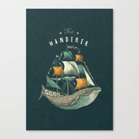 flag Canvas Prints featuring Whale | Petrol Grey by Seaside Spirit
