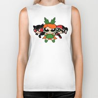 powerpuff girls Biker Tanks featuring Supervillain Girls by Mandrie