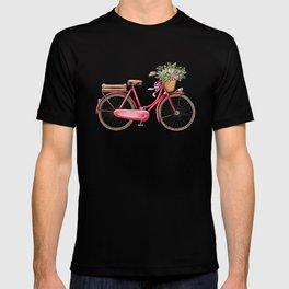 Cute watercolor vintage bike print. T-shirt