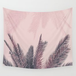 Pretty in Pink Tropical Palm Leaves Wall Tapestry