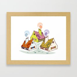 Comfortable old fashioned houses Framed Art Print