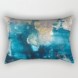 Timeless: A gorgeous, abstract mixed media piece in blue, pink, and gold by Alyssa Hamilton Art Rectangular Pillow