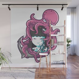 Little girl and octopus Wall Mural