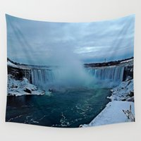 tattoos Wall Tapestries featuring Niagara Falls by Aaron Carberry