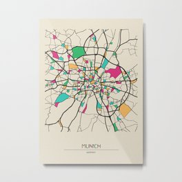 Colorful City Maps: Munich, Germany Metal Print