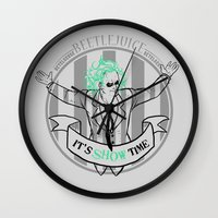 tim burton Wall Clocks featuring Beetle Juice [Betelgeuse, Michael Keaton, Tim Burton] by Vyles