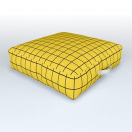 Grid Pattern - yellow and black - more colors Outdoor Floor Cushion
