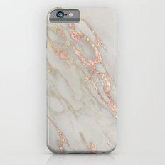 Marble - Rose Gold Marble Metallic Blush Pink iPhone 6 Slim Case