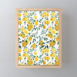 watercoor yellow lemon pattern Framed Mini Art Print
