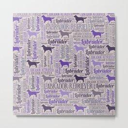Labrador retriever silhouette and word art pattern Metal Print