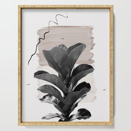 Fiddle Leaf Abstract - Naturelle #2 #minimal #wall #decor #art #society6 Serving Tray
