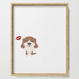 I Kissed A Beagle And I Liked It Cute Dog Kiss Gift Idea Serving Tray
