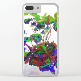 Cut clovers, databending/vector painting/dream smoothing rendition. Clear iPhone Case