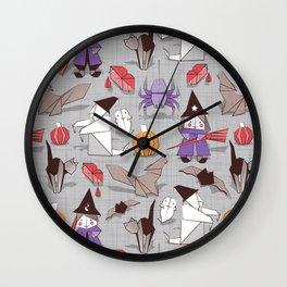 Halloween origami tricks // grey linen texture background Wall Clock