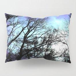 black trees periwinkle blue aqua space Pillow Sham