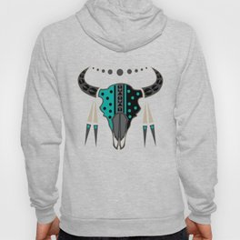 Buffalo Skull and Feathers (Aqua) Hoody