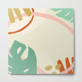 Big tropical leaves and flowers crackled design for fine houses decoration. Metal Print