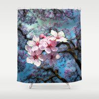 cherry blossoms Shower Curtains featuring Cherry Blossoms by Just Kidding