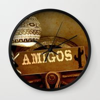 mexican Wall Clocks featuring Mexican by laika in cosmos