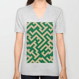 Tan Brown and Cadmium Green Diagonal Labyrinth Unisex V-Neck