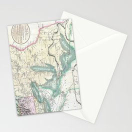 Vintage Map of The Great Lakes & Midwest (1801) Stationery Cards