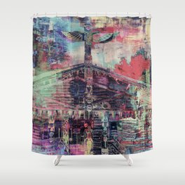 Totem Cabin Abstract - Multi Shower Curtain