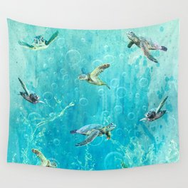 Swimming Turtles Wall Tapestry
