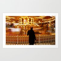 Carousel at the Christmas Fair, Hyde Park, London, England Art Print
