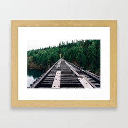 Train Tracks by the Lake & Forest Framed Art Print