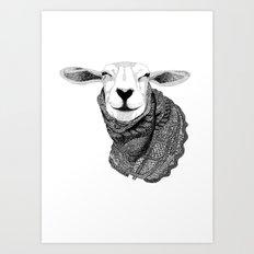 Knitting Sheep Art Print