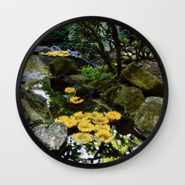 sunflowers in the stream Wall Clock