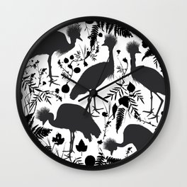 Black crowned crane with grass and flowers black silhouette Wall Clock