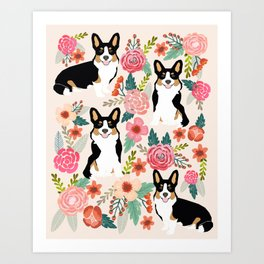 Welsh Corgi tri colored cardigan corgi dog breed must have corgi gifts for dog person pet friendly Art Print