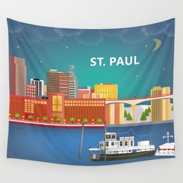 St. Paul, Minnesota - Skyline Illustration by Loose Petals Wall Tapestry