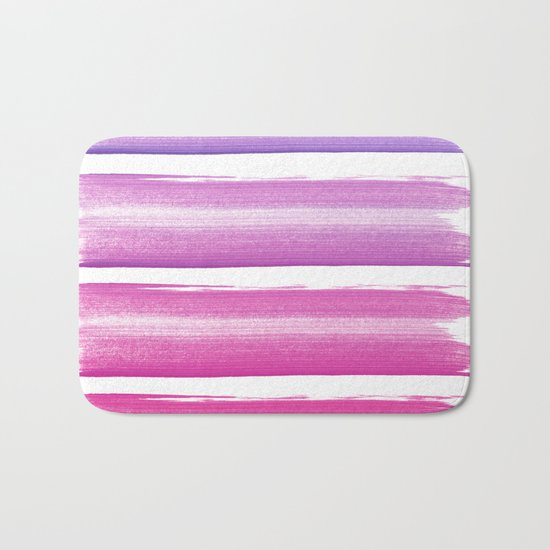Simply hand-painted pink and magenta stripes on white background 2-Mix and Match Bath Mat