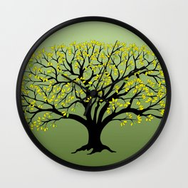 black tree with yellow leaves Wall Clock