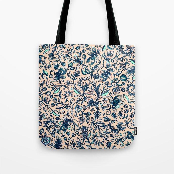 Teal Garden - floral doodle pattern in cream & navy blue Tote Bag